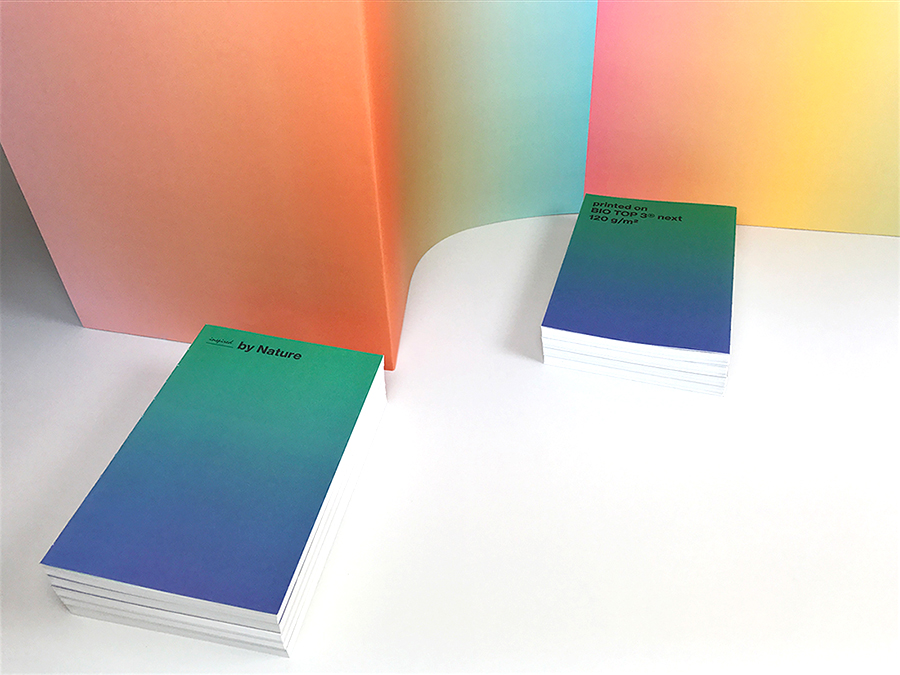 Landscapes transformed and dissolved into their CMYK data for the new BIO TOP 3® swatch book.